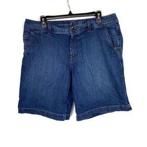 Eddie Bauer Curvy Bermuda Shorts Dark Wash 14